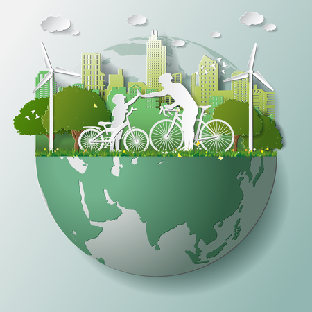 Paper folding art origami style vector illustration. Green renewable energy ecology technology power saving environmentally friendly concepts, father son join hands cycling in parks near city on globe