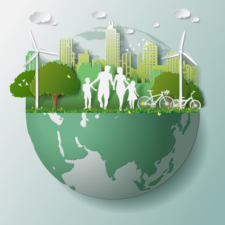 Paper folding art origami style vector illustration. Green renewable energy ecology technology power saving environmentally friendly concepts, family parent boy girl are walking in city parks on globe 일러스트