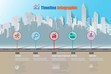 compatibility: City business road map timeline infographic designed for abstract background template elements modern diagram process web pages technology digital marketing data presentation chart Vector illustration