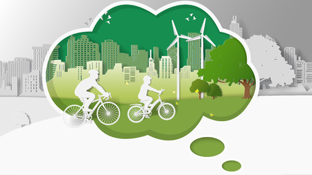 greensward: Green renewable energy ecology technology power saving environmentally friendly concepts, father and son are riding bicycle into thinking box. Paper folding art origami style vector illustration