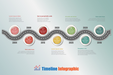 compatibility: Road map business timeline infographic with 7 steps circle designed for background elements diagram planning process web pages workflow digital technology data presentation chart. Vector illustration