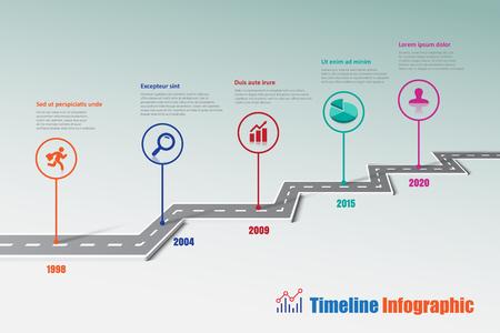 비즈니스 도로지도 타임 라인 추상적 인 배경을 위해 설계된 infographic 아이콘 템플릿 획기적인 요소 현대 다이어그램 프로세스 기술 디지털 마케팅 데 일러스트
