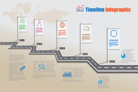 Business road map milestone timeline infographic for abstract background template. Vector illustration