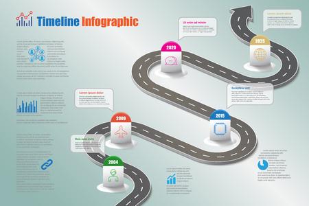 Business Roadmap Timeline Infografik Icons für abstrakte Hintergrund-Vorlage Meilenstein-Element moderne Diagramm Prozess-Technologie digitale Marketing-Daten Präsentation Diagramm Vektor-Illustration