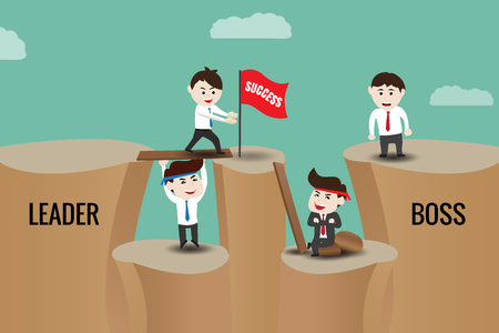 harmonize: The difference between leader and boss, template. Business leadership teamwork to success concepts.