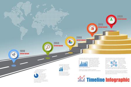 Infografía de línea de tiempo de mapa de carretera de negocios diseñado para camino de camino de plantilla al podio. Ilustración vectorial