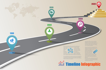 Business road map timeline infographic designed for template milestone path way to podium. Vector illustration