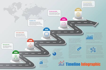 Business road map timeline infographic icons. Vectores