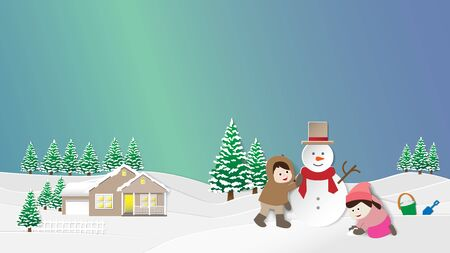 Paper folding art origami style vector illustration.Merry Christmas and happy New Year greeting card with copy-space.Children making snowman and snowy landscape.Winter night sky with aurora background Illustration