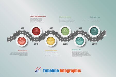 compatibility: Road map business timeline infographic with 6 steps circle designed for background elements diagram planning process web pages workflow digital technology data presentation chart. Vector illustration Illustration