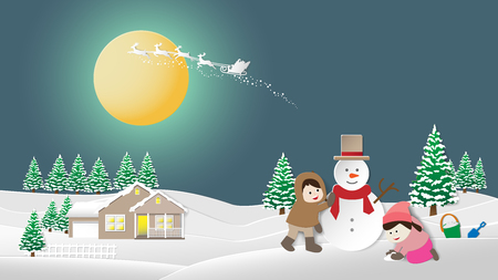 Paper folding art origami style vector illustration. Merry Christmas and happy New Year. Children making snowman and snowy landscape. Winter night sky with santa claus reindeer on big moon background.