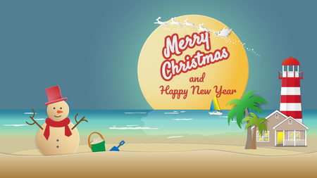 Sandy snowman on sea beach with house lighthouse night sky santa claus reindeer background Holiday travel concepts can be used for Christmas New Year's Cards in tropical countries Vector illustration. 일러스트