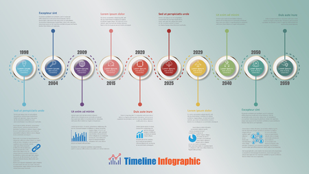Modern timeline infographic with 10 steps circle designed for template brochure diagram planning presentation process webpages workflow. Vector illustration Vettoriali