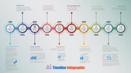 Infografica moderna timeline con cerchio 10 passi progettato per il flusso di lavoro di brochure di processo di presentazione del sito web di diagramma di presentazione modello. Illustrazione vettoriale Vettoriali