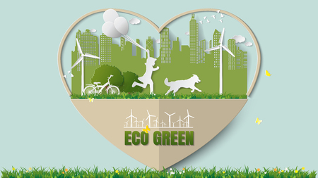 Paper folding art origami style vector illustration. Green renewable energy ecology technology power saving environmentally concepts, girl run and hold balloons with dog in city parks in heart frame