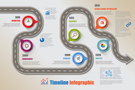 Business road map timeline infographic icons designed for digital marketing data presentation. chart Vector illustration Vectores