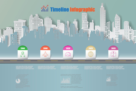 Business road map timeline infographic city designed for abstract background template, milestone element Vector illustration Vectores