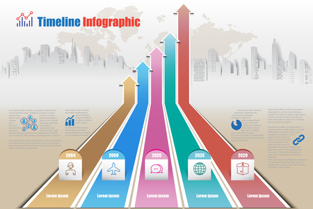 Business road map timeline infographic city chart designed for abstract background template element modern diagram process technology digital marketing data presentation. Vector illustration
