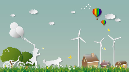 Paper folding art origami style vector illustration. Green renewable energy ecology technology power saving environmentally concepts, girl run and hold balloons with dog to village parks countryside