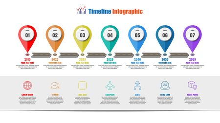 Road map timeline infographic with 7 steps pointer design for template brochure diagram planning presentation process workflow technology digital marketing data presentation chart. Vector illustration Illustration