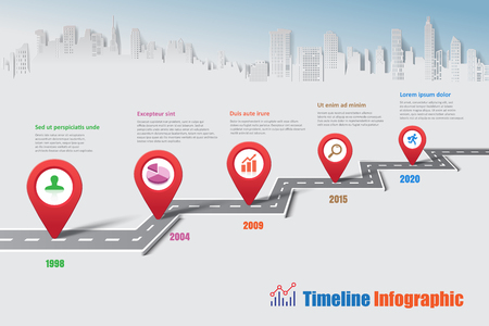 Business road map timeline infographic city designed for abstract background template milestone element modern diagram process technology digital marketing data presentation chart Vector illustration Vector Illustration