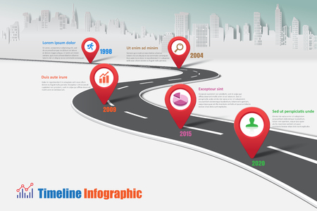 Business road map timeline infographic city designed for abstract background template milestone element modern diagram process technology digital marketing data presentation chart Vector illustration