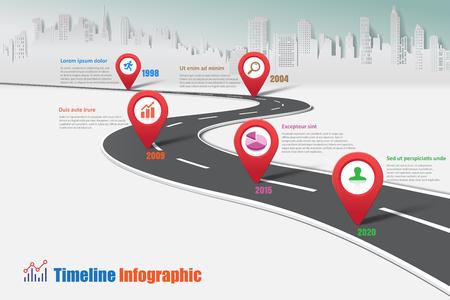 Entreprise, route, timeline, infographique, ville, conçu, pour, résumé, fond, modèle, jalon, élément, moderne, diagramme, processus, technologie, numérique, commercialisation, données, présentation, diagramme, vecteur, illustration