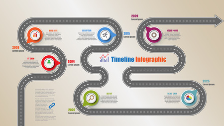 Road map timeline infographic with 6 steps circle designed for template brochure diagram planning presentation process webpages workflow. Vector illustration Stock Illustratie