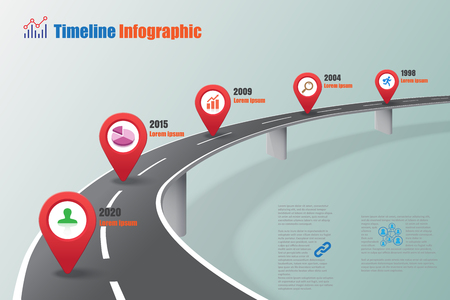 Business road map timeline info graphic expressway concepts designed for abstract background template milestone diagram process technology digital marketing data presentation chart illustration. Vectores