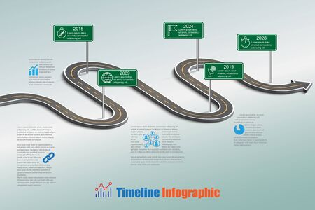 Business road map timeline info graphic icons designed for abstract background template milestone element modern diagram process technology digital marketing data presentation chart  vector illustration. Vectores