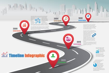 Business road map timeline infographic city designed for abstract background template milestone element modern diagram process technology digital marketing data presentation chart vector illustration.