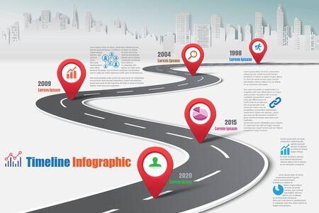 Ciudad de infografía de la hoja de ruta del mapa de negocios diseñada para la plantilla de fondo abstracto hito elemento diagrama moderno tecnología de proceso tecnología de marketing digital presentación de datos gráfico ilustración vectorial. Ilustración de vector