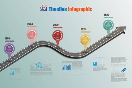 Business road signs map timeline infographic designed for abstract background template milestone element modern diagram process technology digital marketing data presentation chart Vector illustration Иллюстрация