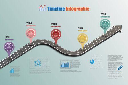 Business road signs map timeline infographic designed for abstract background template milestone element modern diagram process technology digital marketing data presentation chart Vector illustration Illustration