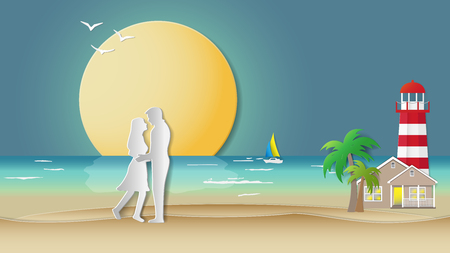Paper folding art origami style vector illustration. Holiday travel concepts, couples are hugging on sea beach with house, lighthouse, palm trees, full moon. Can be used for tropical countries backgrounds. Illustration