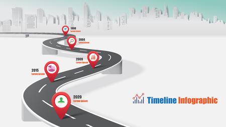 Infographic Schnellstraßenkonzepte der Geschäftsstraßenkarte-Zeitachse entworfen für abstrakte Marketing-Daten-Darstellungsdiagramm-Vektorillustration der Hintergrundschablonendiagramm-Prozesstechnologie digitale