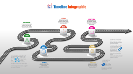Business road map timeline infographic template with pointers designed for abstract background. Milestone modern diagram process technology digital marketing data presentation chart vector illustration.