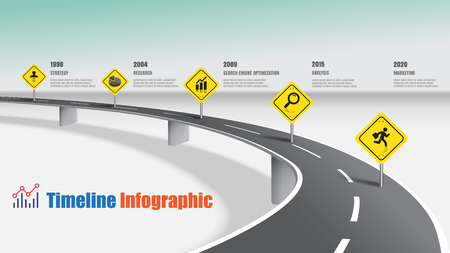Business road map timeline infographic expressway concepts, Vector Illustration