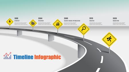 Zakelijke routekaart tijdlijn infographic snelweg concepten, vectorillustratie