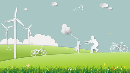 Paper folding art origami style vector illustration. Renewable energy ecology technology concepts, daughter is running to father and holding balloons in green meadow park which full of wind turbine.