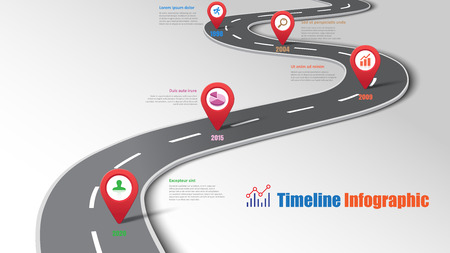 Business road map timeline infographic template with pointers designed for abstract background milestone modern diagram process technology digital marketing data presentation chart Vector illustration Vectores