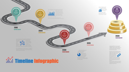 Business road map timeline infographic milestone pathway to podium designed for modern diagram process technology digital marketing data presentation chart. Vector illustration