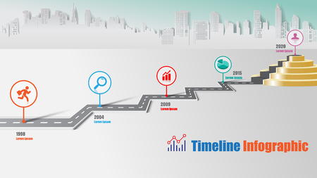 Business road map timeline infographic city milestone pathway to podium designed for modern diagram process technology digital marketing data presentation chart. Vector illustration