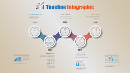 Road map business timeline infographic with 5 steps circle designed for background elements diagram planning process webpages workflow digital marketing data presentation chart. Vector illustration Ilustracja
