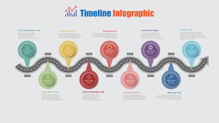 Road map business timeline infographic with 9 step pins designed for abstract background elements diagram planning process web pages digital technology data presentation chart. Vector illustration
