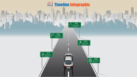 Business road map timeline infographic designed for abstract background template milestone concepts modern technology digital presentation chart Sports cars through the city center Vector illustration Illustration