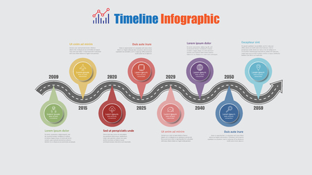 Road map business timeline infographic with 8 step pins designed for abstract background elements diagram planning process web pages digital technology data presentation chart. Vector illustration