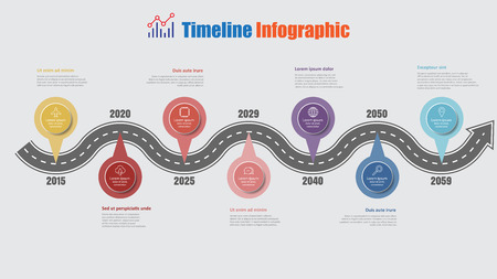 Road map business timeline infographic with 7 step pins designed for abstract background elements diagram planning process web pages digital technology data presentation chart. Vector illustration