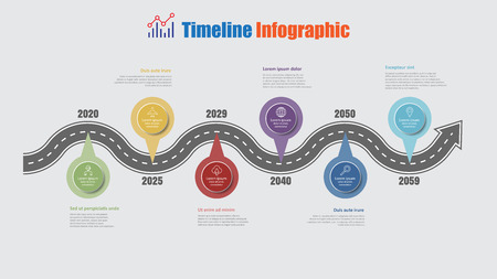 Road map business timeline infographic with 6 step pins designed for abstract background elements diagram planning process web pages digital technology data presentation chart. Vector illustration