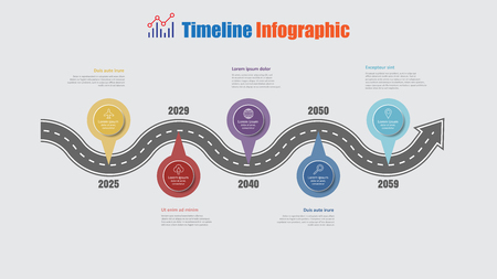 Road map business timeline infographic with 5 step pins designed for abstract background elements diagram planning process web pages digital technology data presentation chart. Vector illustration